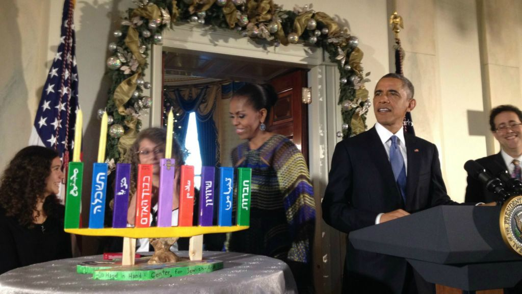 President Obama First Lady Michelle Obama and students from the Max Rayne Hand in Hand  sc 1 st  The Times of Israel & Arab-Jewish schoolu0027s menorah lights up White House Hanukkah party ... azcodes.com