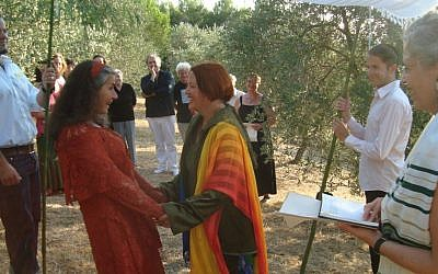 Illustrative photo of a 2009 Jewish marriage ceremony of a lesbian couple in Germany. (Maartje Wildemann)