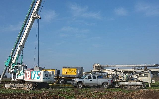 Heavy machinery for exploratory oil drilling on the Golan Heights at Oil Site 5. (Courtesy Afek Oil and Gas)