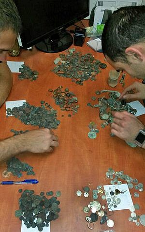 Coins confiscated from a suspected antiquities thief's home in Beit Shemesh (photo credit: Unit for the Prevention of Antiquities Robbery of the Israel Antiquities Authority)