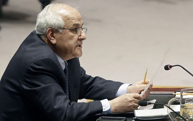Palestinian Ambassador to the United Nations Riyad Mansour speaks during a meeting of the UN Security Council on Tuesday, December 30, 2014, at the United Nations headquarters (Photo credit: Frank Franklin II/AP)