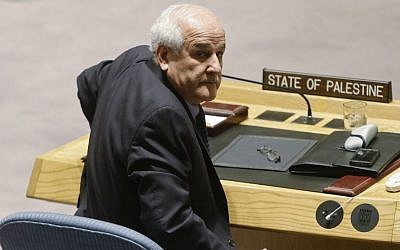 Palestinian ambassador to the United Nations Riyad Mansour speaks after the UN Security Council approved an anti-settlements resolution, December 23, 2016 (Frank Franklin II/AP)