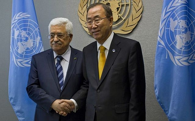Palestinian Authority President Mahmoud Abbas is greeted by United Nations Secretary-General Ban Ki-moon during the 68th session of the United Nations General Assembly, Tuesday, Sept. 24, 2013 [photo credit: AP/Craig Ruttle]