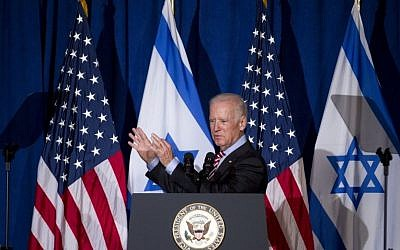 Vice President Joe Biden speaks to the Saban Forum in Washington, Saturday, Dec. 6, 2014. (photo credit: AP Photo/Jose Luis Magana)
