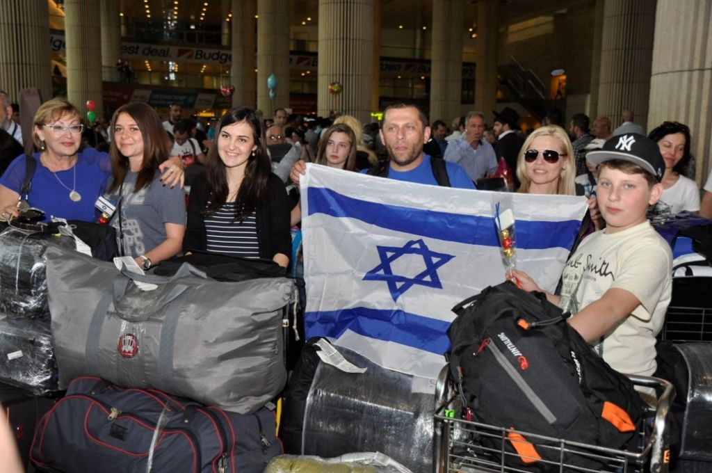 A 2012 group of Ukrainian Jewish olim arriving at Ben-Gurion on a flight sponsored by the International Christian Embassy in cooperation with the Jewish Agency. (courtesy)
