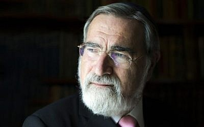 Illustrative: Rabbi Lord Jonathan Sacks, set to present the Humanitarian Award to IsraAid's Meira Aboulafia at the TOI Gala in New York City, January 2015. (Blake Ezra/Courtesy)
