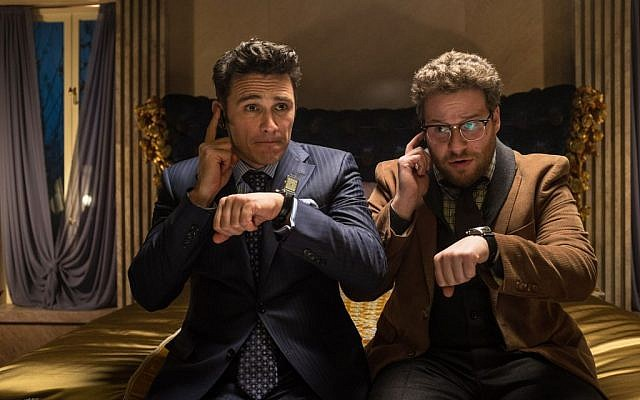 "This photo released by Sony - Columbia Pictures shows James Franco, left, as Dave and Seth Rogen as Aaron in a scene from Columbia Pictures' ""The Interview."" (photo credit: AP Photo/Sony - Columbia Pictures, Ed Araquel)"