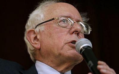 Sen. Bernie Sanders, I-Vt., speaks during a town hall meeting in Ames, Iowa earlier this year. (Photo credit: Charlie Neibergall/AP)