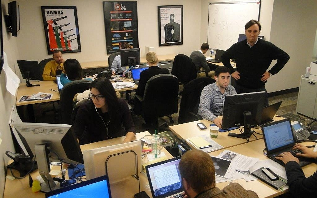 Beltway opinion makers, Josh Block and The Israel Project team. (Ben Zehavi/The Times of Israel)