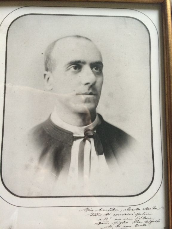 "Gustavo Latis's photograph of his ""uncle-priest"" Edgardo Mortara. (Rossella Tercatin/The Times of Israel)"