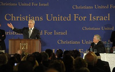 Prime Minister Benjamin Netanyahu speaks at the Evangelical Christian movement and a mission of approximately 800 members of Pastor John Hagee's Christians United for Israel (CUFI) organization, in Jerusalem on March 18 2012. (Amos Ben Gershom/Flash90)
