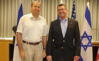 Defense Minister Moshe Yaalon meets with United States Deputy Secretary of Defense Ashton Carter, at the Ministry of Defense in Tel Aviv, July 21, 2013. (Photo credit: Ariel Hermoni/ Ministry of Defense/ FLASH90)