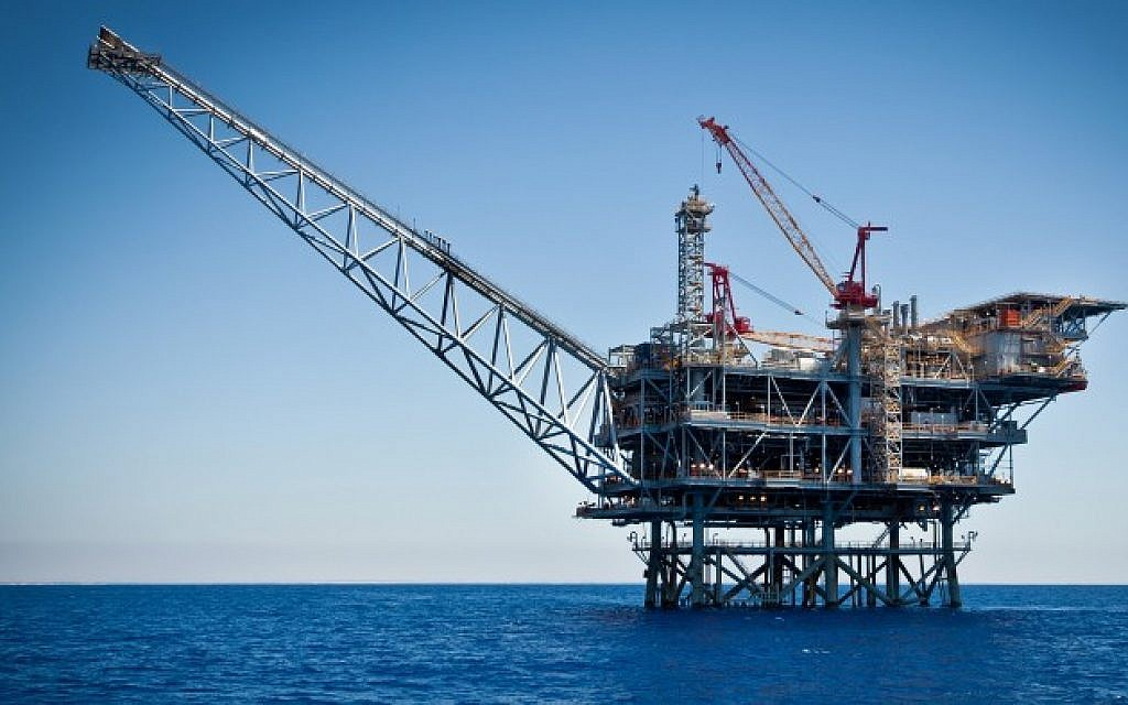Illustrative photo of a natural gas field in the Mediterranean Sea (Moshe Shai/FLASH90)