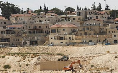 Illustrative photo of a construction site in Tekoa, a Jewish settlement in the West Bank, on September 7, 2014 (Flash90)