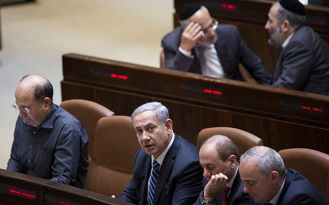 Benjamin Netanyahu at the Knesset on December 8, 2014. (photo credit: Yonatan Sindel/Flash90)