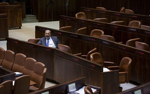 Aryeh Deri seen during a vote on a bill to dissolve the Knesset on December 8, 2014. (Photo credit: Yonatan Sindel/Flash90)