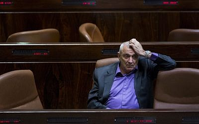 Public Security Minister Yitzhak Aharonovitch seen the Israeli parliament, Jerusalem, on December 8, 2014. (photo credit: Yonatan Sindel/Flash90)