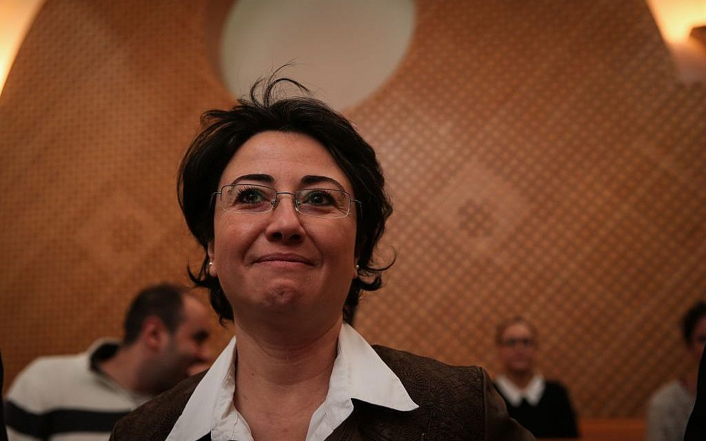 Arab MK Hanin Zoabi at a hearing on her case at the Supreme Court in Jerusalem, December 9, 2014 (photo credit: Hadas Parush/Flash90)