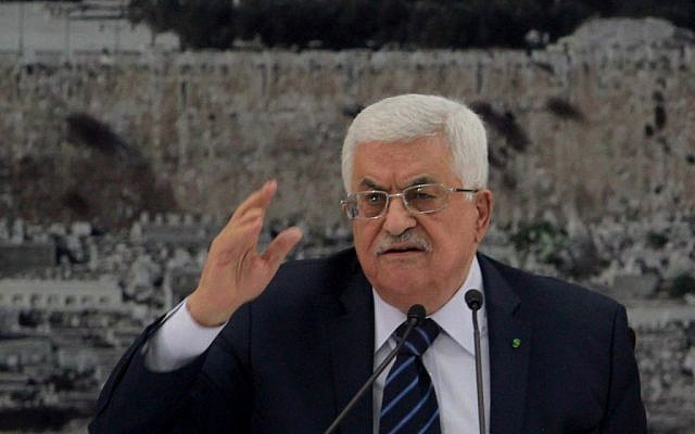 Palestinian Authority President Mahmoud Abbas addresses a meeting of the Palestinian leadership in the West Bank city of Ramallah, on December 14, 2014 (photo credit: Flash90)