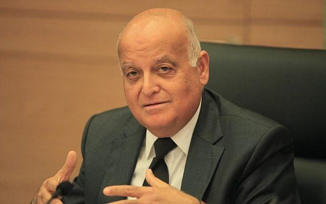 Arab-Israeli Supreme Court judge Salim Joubran, head of the Israeli elections committee, December 16, 2014. (photo credit: Isaac Harari/FLASH90)