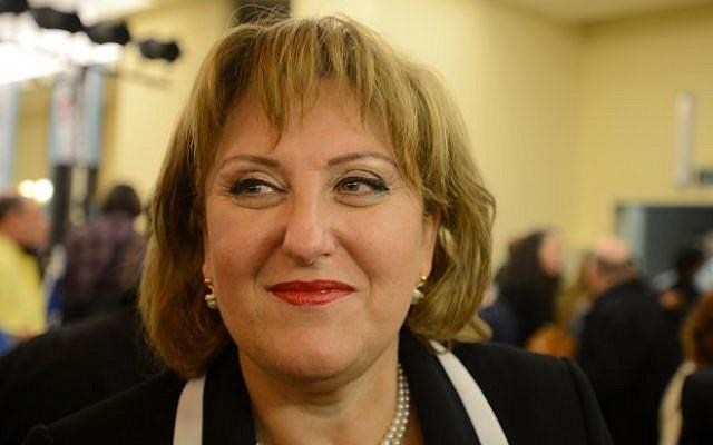 Deputy Interior Minister Faina Kirshenbaum attends a conference of Yisrael Beytenu activists in Ariel, on December 30, 2014. (photo credit: Gili Yaari/FLASH90)