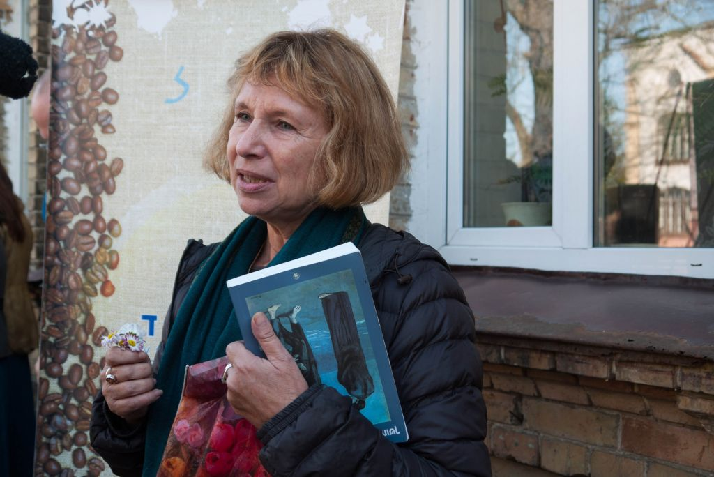 Fania Oz-Salzberger outside grandmother's house in Rivne, November 2014. In the film, Oz-Salzberger could be seen visiting sites author Amos Oz had heard about in his childhood, but never seen with his own eyes. (Yifa Yaakov/The Times of Israel)