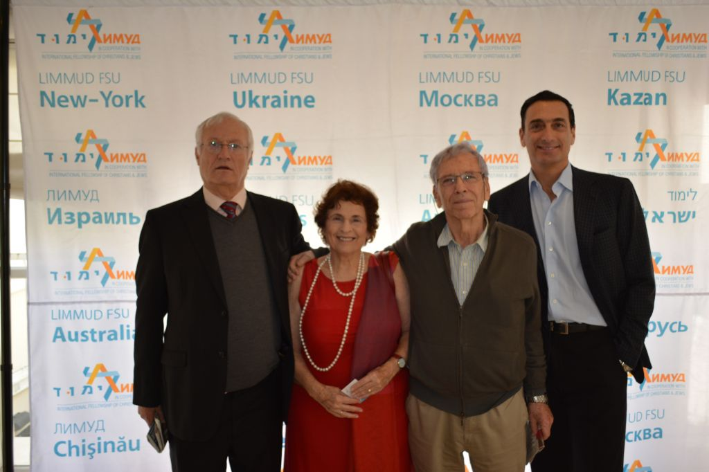 From left, Limmud FSU founder Chaim Chesler, Amos Oz's wife Nily Zuckerman, Amos Oz and Matthew Bronfman at the screening in Tel Aviv on December 10, 2014. (Olga Noa Lavie /Limmud)