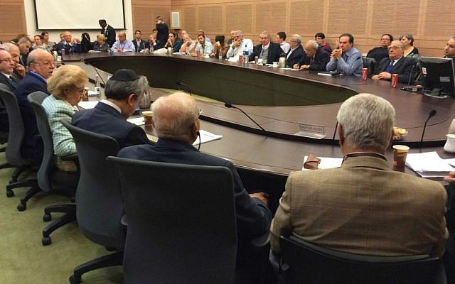 Representative of Jewish communities hailing from Arab countries and Iran attended a meeting of the Knesset's Absorption Committee on December 2, 2014. (photo credit: Renee Ghert-Zand/Times of Israel)