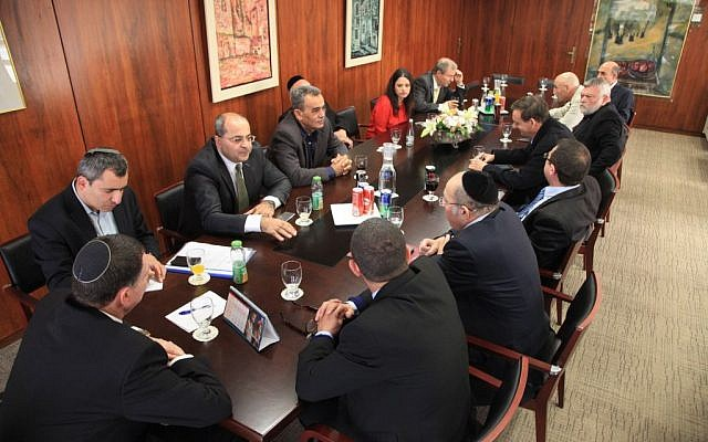 The Knesset faction leaders meet with Knesset Speaker Yuli Edelstein to set an election date. December 3, 2014. (photo credit: Knesset spokesperson's office)