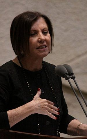 Meretz MK Zahava Gal-on at the Knesset on December 3, 2014. (photo credit: Courtesy)
