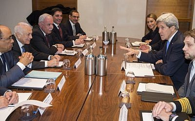 US Secretary of State John Kerry, second right, meets with Arab League secretary general Nabil El-Arabi, second from left, on Tuesday, Dec. 16, 2014, in London. (photo credit: AP/Evan Vucci, Pool)