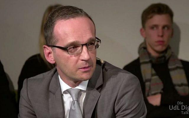 German Justice Minister Heiko Maas, November 2014. (screen capture: YouTube/UdL Digital)