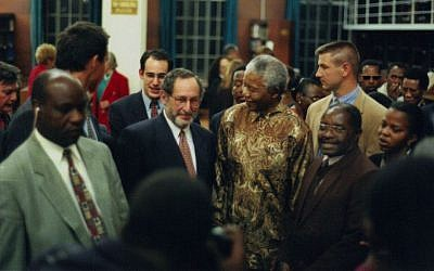 Benjamin Pogrund, with beard, next to Nelson Mandela (photo credit: courtesy Benjamin Pogrund)