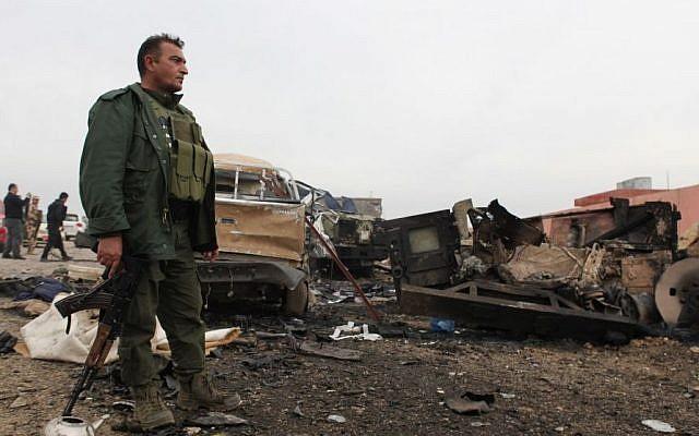 Illustrative photo of a Kurdish peshmerga fighter (AP/Zana Ahmed)