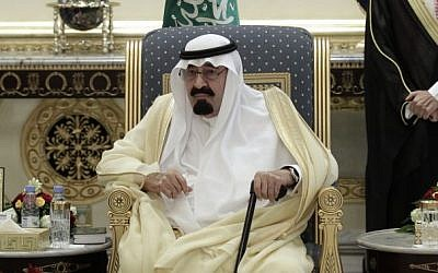 King Abdullah of Saudi Arabia,  Monday, May 14, 2012 (photo credit: AP/Hassan Ammar, File)