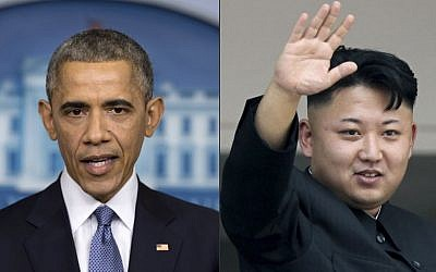 "President Barack Obama, and North Korean leader Kim Jong Un. North Korea has compared Obama to a monkey and blamed the U.S. for shutting down its Internet amid the hacking row over the movie ""The Interview."" (photo credit: AP Photos)"