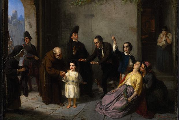 Moritz Daniel Oppenheim's 'The Kidnapping of Edgardo Mortara,' 1862 (public domain via wikipedia)