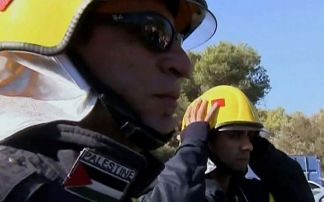 Palestinian firefighters arrive in Israel to fight the Carmel blaze in December 2010. (photo: Courtesy/Firelines)