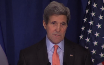 US Secretary of State John Kerry addresses the Saban Forum, December 7, 2014 (Saban Forum screenshot)