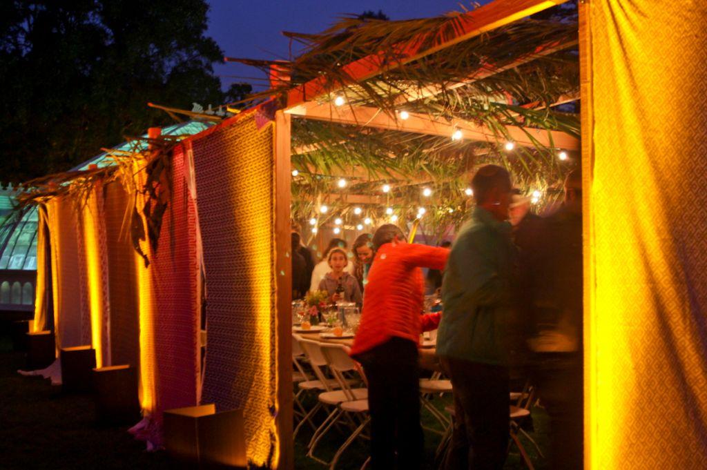 The Kitchen celebrating Sukkot at the Conservatory of Flowers in San Francisco. (Elizabeth Waller/JTA)