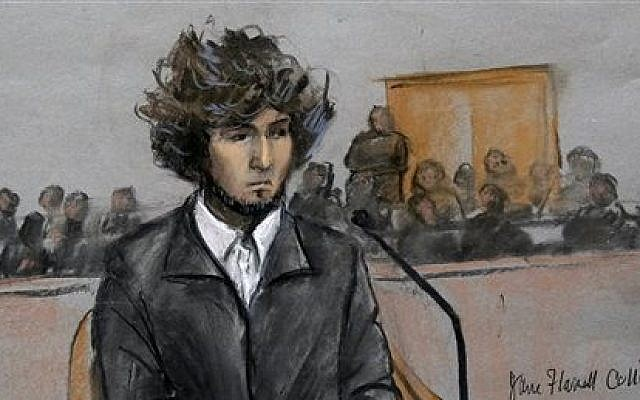 In this courtroom sketch, Boston Marathon bomber Dzhokhar Tsarnaev is depicted sitting in federal court in Boston Thursday, Dec. 18, 2014, for a final hearing before his trial begins in January. (photo credit: AP/Jane Flavell Collins)