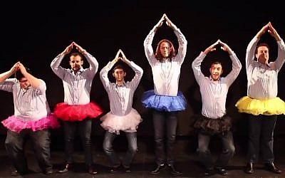 Members of Six13 in their 'Shake It Off' Hanukkah video. (YouTube screenshot)