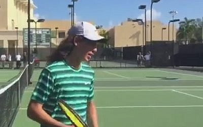 Yshai Oliel wins the Junior Orange Bowl games in Coral Gables, Florida, December 23, 2014 (Photo credit: Youtube screen capture)