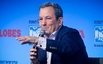 Ehud Barak speaks at the opening of the Globes Business Conference, in Tel Aviv on December 8, 2014. (Flash90)