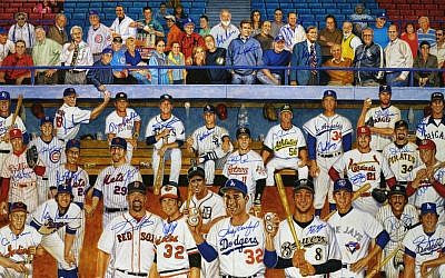Sandy Koufax is out front in the Ron Lewis painting of Jewish major leaguers and others. The sale of 500 autographed prints is partly for profit and charity. (JewishBaseballPlayer.com/JTA)