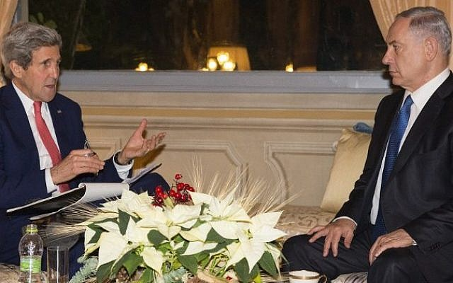 US Secretary of State John Kerry (left) meets with Israeli Prime Minister Benjamin Netanyahu at Villa Taverna in Rome, December 15, 2014. (photo credit: AFP/Evan Vucci)