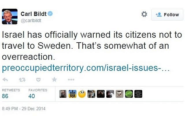 A link to a satirical report tweeted by former Swedish prime minister Carl Bildt on Monday, December 29, 2014 (screen capture: Twitter)