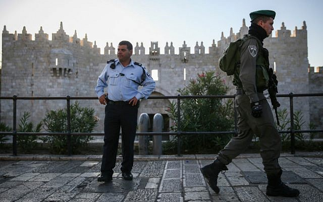 An Israel Police officer and a Border Policeman in front of the Damascus Gate in Jerusalem's Old City,  November 19, 2014 (Hadas Parush/Flash 90)