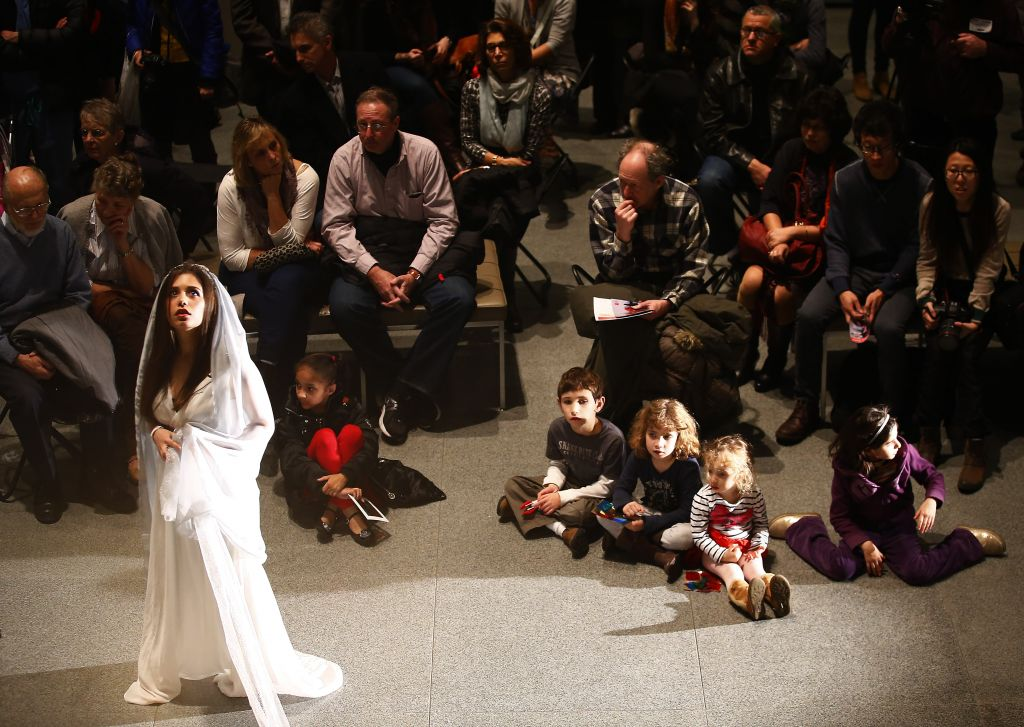 Israeli vocalist Tutti Druyan performs the role of Sarah in 'Seekers of Light,' scenes of which were performed at the Museum of Fine Arts Boston on Wed. evening (photo credit: Jared Wickerham/The Times of Israel)