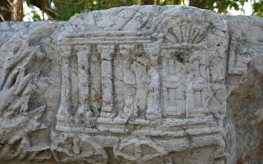 Stone carvings at ancient Capernaum (photo credit: Shmuel Bar-Am)